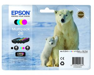 TechLogics - 26 Series 'Polar bear' multipack containing 4 ink cartridge: black (T2601). cyan (T2612). magenta (T2613). yellow (T2614). in RS blister pack.