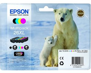TechLogics - 26XL Series 'Polar bear' multipack containing 4 ink cartridge: black (T2621). cyan (T2632). magenta (T2633). yellow (T2634). in RS blister pack.